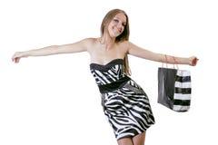 El shoping blanco y negro Imagen de archivo