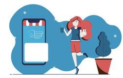 El shoping y márketing en línea Entrega en línea stock de ilustración