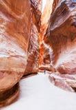 El Siq - paso estrecho al Petra antiguo de la ciudad Imagen de archivo libre de regalías