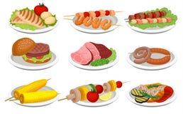 El sistema asado a la parrilla de la comida, los platos deliciosos para la barbacoa va de fiesta el ejemplo del vector de la comi stock de ilustración