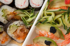 El sistema clasificado del sushi sirvió en la caja blanca contra el fondo blanco Foto de archivo