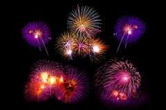 el sistema colorido hermoso del fuego artificial aisló la exhibición para la celebración Fotografía de archivo