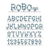 El sistema completo de la fuente técnica del robot pone letras a alfabeto Imagenes de archivo