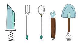El sistema consiste en un sistema de cenar las herramientas y otros artículos útiles libre illustration