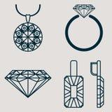 El sistema contiene cuatro iconos para las mercancías de la joyería suena, los pendientes, collar y diamante clásico Fotografía de archivo
