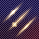 El sistema creativo del vector del concepto de estrellas del efecto luminoso del resplandor estalla con las chispas Fotografía de archivo libre de regalías