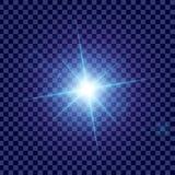 El sistema creativo del vector del concepto de estrellas del efecto luminoso del resplandor estalla con las chispas aisladas en f Fotos de archivo libres de regalías