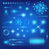 El sistema creativo del vector del concepto de estrellas del efecto luminoso del resplandor estalla con las chispas aisladas en f Imagen de archivo