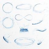 El sistema de agua transparente salpica, los círculos, los torbellinos, los descensos y corona de caer en el agua en colores azul stock de ilustración