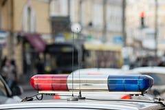 El sistema de alarma de la patrulla de policía Imagen de archivo