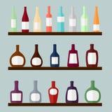 El sistema de alcohol bebe en los estantes, ejemplo del vector Foto de archivo