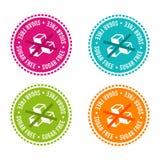 El sistema de alergénico libera insignias El azúcar libera Muestras dibujadas mano del vector Puede ser utilizado para el diseño  Imágenes de archivo libres de regalías
