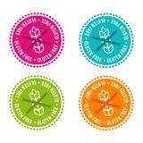 El sistema de alergénico libera insignias El gluten libera Muestras dibujadas mano del vector Puede ser utilizado para el diseño  Imagen de archivo