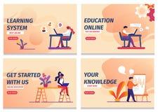 El sistema de aprendizaje, comienza la educación en línea, conocimiento ilustración del vector