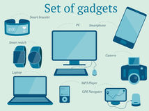 El sistema de artilugios modernos diseña incluir el ordenador portátil, PC, reproductor Mp3 libre illustration