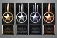 El sistema de banderas negras, el oro, el platino, la plata y el bronce protagonizan, Vector el ejemplo L ilustración del vector