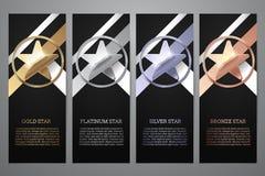 El sistema de banderas negras, el oro, el platino, la plata y el bronce protagonizan, Vector el ejemplo L stock de ilustración