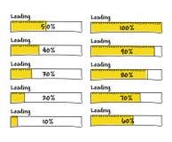 El sistema de barras de cargamento del progreso el 100 por ciento termina, da exhausto Fotografía de archivo