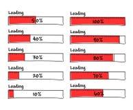 El sistema de barras de cargamento del progreso el 100 por ciento termina, da exhausto Imagen de archivo