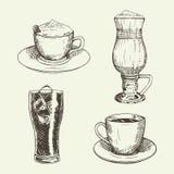 El sistema de bebidas incluye el capuchino, latte, americano, cola Ilustración del vector Fotos de archivo libres de regalías