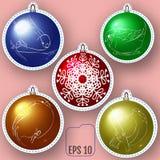 El sistema de bolas coloreadas de la Navidad remienda las insignias, insignia del perno de la Navidad ilustración del vector