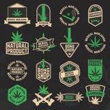 El sistema de cáñamo, marijuana, bong etiquetas de la tienda, insignias y diseño stock de ilustración