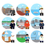 El sistema de caracteres de las profesiones en fondos temáticos vector el ejemplo Imágenes de archivo libres de regalías