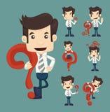 El sistema de caracteres del hombre de negocios presenta con los signos de interrogación Imágenes de archivo libres de regalías