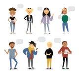 El sistema de caracteres divertidos de la juventud de la historieta con diverso discurso formado burbujea Estilo sport de la call Imagen de archivo