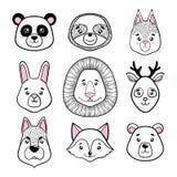 El sistema de caras animales lindas se ennegrece, blanco panda, pereza, ardilla, conejito, león, ciervo, perro, zorro, oso Estilo ilustración del vector