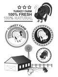 El sistema de carne superior del pavo etiqueta y sella Vector Fotografía de archivo libre de regalías