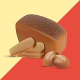 El sistema de centeno y de trigo cortó el pan y los bollos crujientes Productos de la panadería Imagen de archivo