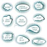 El sistema de charla burbujea con los mes de motivación y positivos de los thinkiins Imágenes de archivo libres de regalías