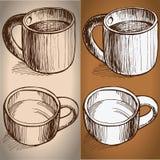 El sistema de coffe asalta estilo del bosquejo del dibujo Fotos de archivo
