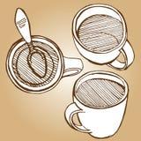 El sistema de coffe asalta estilo del bosquejo del dibujo Imagen de archivo