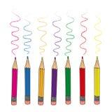 El sistema de color dibujó a lápiz para dibujar en el fondo blanco stock de ilustración