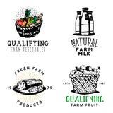 El sistema de comida fresca de la granja badges en estilo del vintage libre illustration