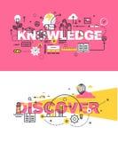 El sistema de conceptos modernos del ejemplo del vector de conocimiento de las palabras y descubre stock de ilustración