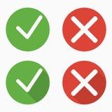 El sistema de confirma y niega iconos con y sin sombras stock de ilustración