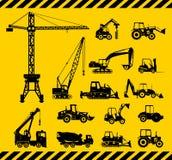 El sistema de construcción pesada trabaja a máquina iconos Vector Fotos de archivo