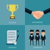El sistema de coopera concepto del éxito empresarial Trofeo, apretón de manos, contrato, trabajo en equipo Imágenes de archivo libres de regalías