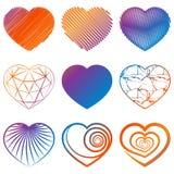 El sistema de corazón forma iconos Vector Fotografía de archivo