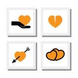 El sistema de corazón y de amor, divorcio de los diseños y se rompe para arriba - vector los iconos Imágenes de archivo libres de regalías