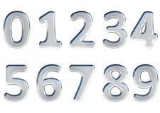 El sistema de 3D rindió los números, 0-9 Color brillante de plata en el fondo blanco para el uso fácil imagen de archivo libre de regalías