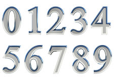 El sistema de 3D rindió los números, 0-9 Color brillante de plata en el fondo blanco para el uso fácil Fotos de archivo libres de regalías