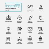 El sistema de departamentos de la oficina alinea iconos y pictogramas planos del diseño Foto de archivo libre de regalías