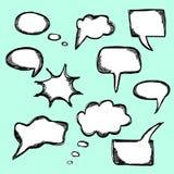 El sistema de discurso cómico dibujado mano del vector burbujea Fotografía de archivo