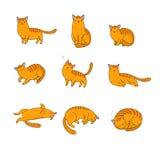 El sistema de diverso garabato presenta el gato pets stock de ilustración