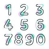 El sistema de elemento de la forma de diez números cero a nueve, numera diseño plano imagen de archivo