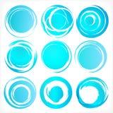 Los elementos del diseño en azul colorean iconos. Sistema 3 Imagenes de archivo